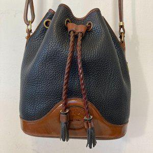 VINTAGE Dooney &Bourke Black Drawstring Bucket Bag